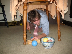 Unconventional techniques may be required to navigate around obstacles, such as bowls of fruit.