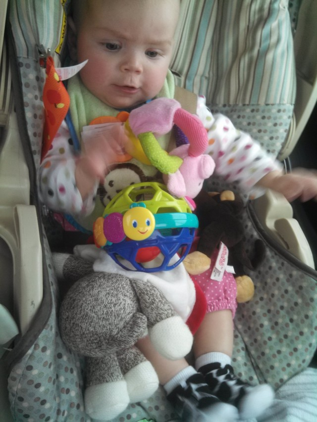 Edie hates car rides, too. I went through a mountain of toys to appease her on our latest trip to Eugene.