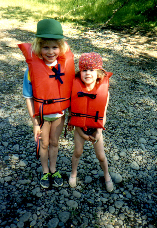 My younger sister Amy and I on the banks of the Willamette River