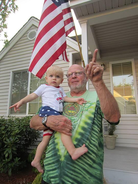 Super patriotic super sweetie with Grandpa
