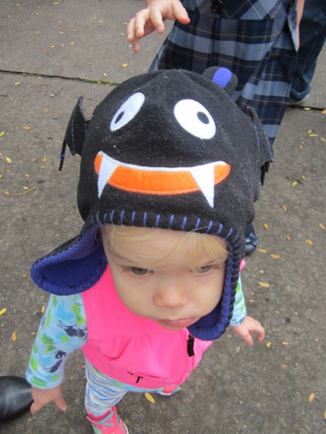 Some random kid at the zoo couldn't stop touching Peeper's bat hat. I don't blame her—it's irresistible!