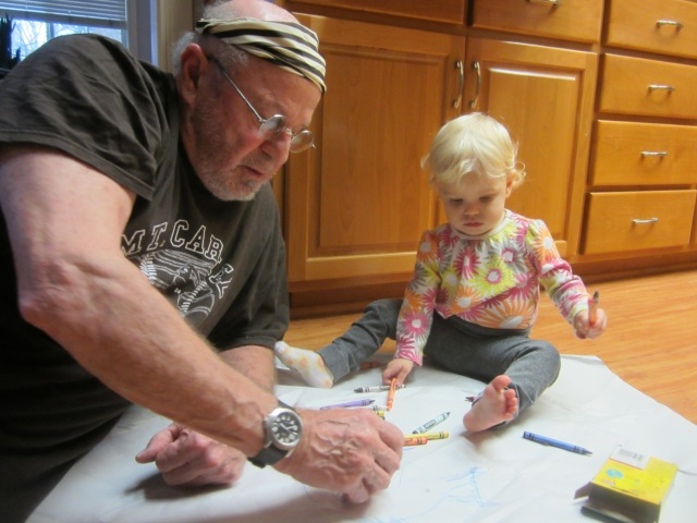 Grandpa Shempy joins Peeper for craft time.