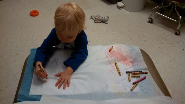 Peeper creates art wherever she goes—including the doctor's office.