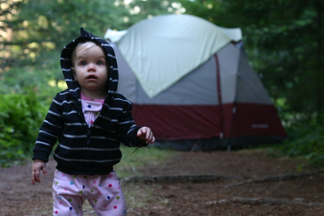 Happy campers family camping toddler tent