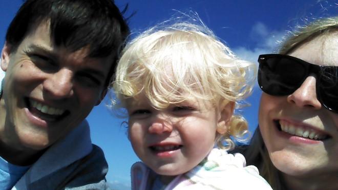 family selfie beach