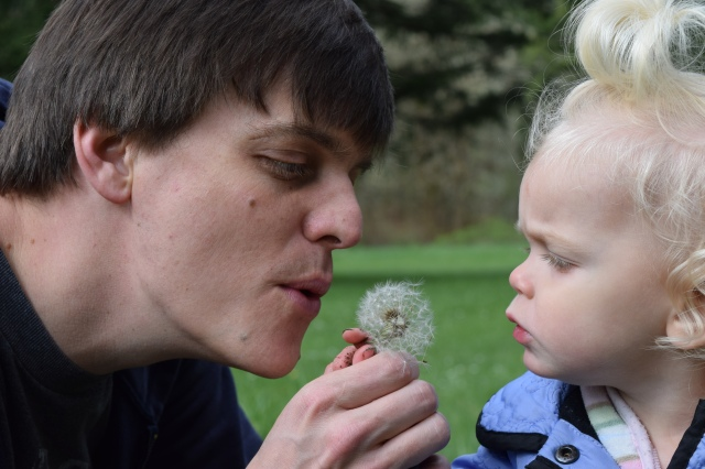 Toddler and dad blow dandelion father's day