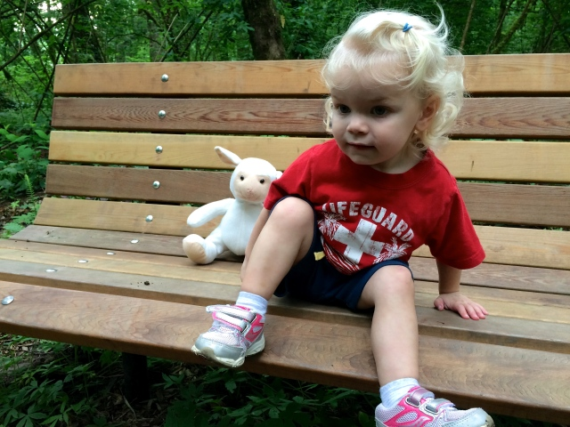Toddler bench Mary S Young Park sheep lovey