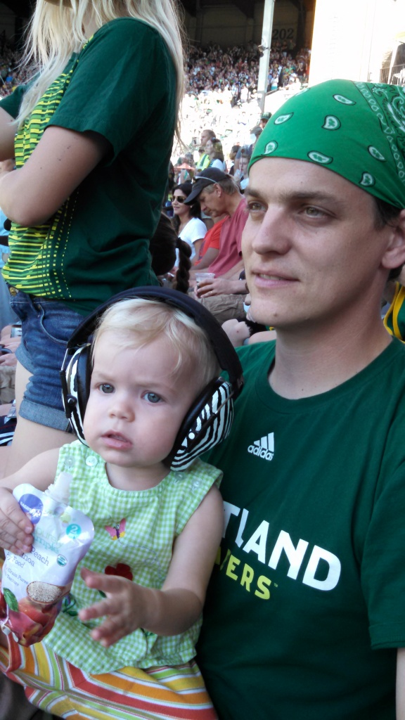 Dad baby Timbers soccer game Portland