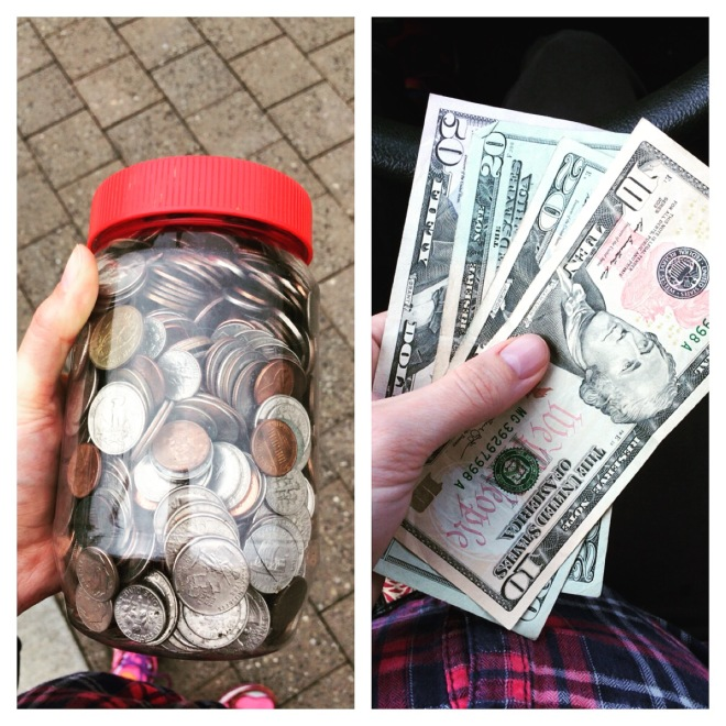 Saving money change jar