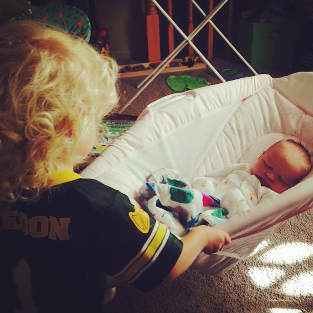 Peeper rocking Baby Sister - Ten Thousand Hour Mama