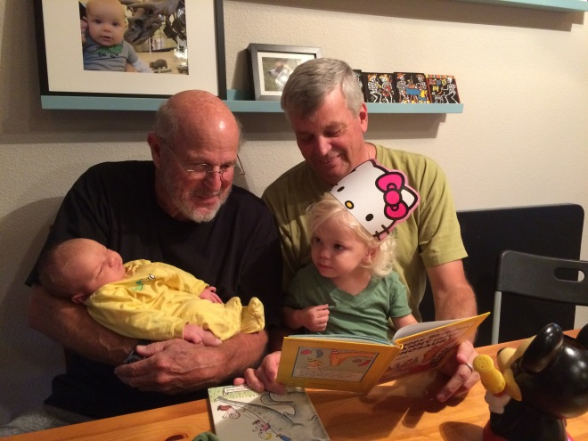 Two Grandpas with granddaughters